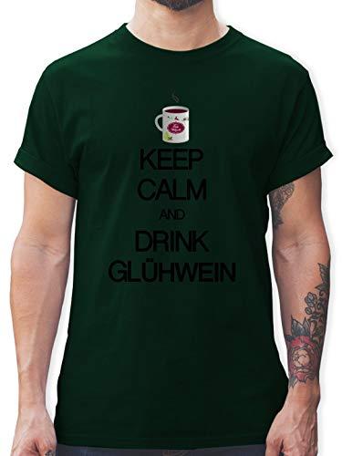 Keep Calm - Keep Calm and Drink Glühwein - XXL - Dunkelgrün - L190 - Herren T-Shirt und Männer Tshirt