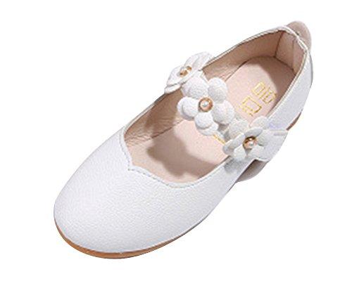 Qitun Scarpe per Bambine e Ragazze Mary Jane Fiore Basse Mocassini Estate Dress Shoe Ballerina Shoes Weiß EU 20/Longueur Du Pied:12.5CM
