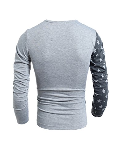 Bestgift Herren O-neck Fit Shirt Langarm T-Shirt Weiß