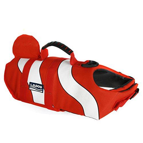 POPETPOP Schwimmweste Hund Clownfish Form Lebensretter Sicherheit Weste Einstellbare mit Griff für Mittelgroßer Hund 9-12kg Größe M ()