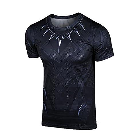 Costume Civil War Black Panther - Homme Refroidir T-shirt Cosplay Adulte Summer Noir
