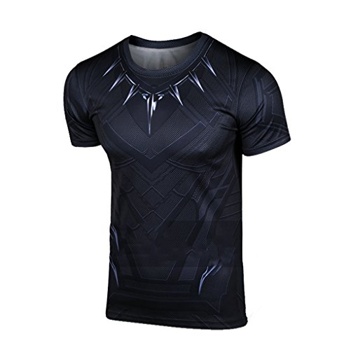 Herren Kühles T Shirt Cosplay Erwachsene Sommer Schwarz Kurzarm Shirts Halloween Kostüm (Kostüme Panther)