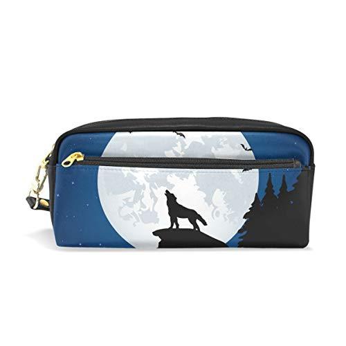 Federmäppchen mit großer Kapazität für Vollmond Nacht, Wolf Fledermaus, Stiftebeutel mit Reißverschluss