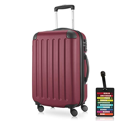 Hauptstadtkoffer - Spree Handgepäck Kabinentrolley Bordgepäck Hartschalen-Koffer, sehr leicht, TSA, 55 cm, 42L, Burgund inkl. Design Kofferanhänger