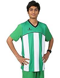 Triumph Men's Polyester Football Green Stripe V Neck Uniform