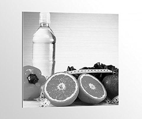 Alu-Dibond schwarz weiß Apotheke Medizin Apfel Diät Obst Bild auf Aluminium AluDibond UV Druck gebürstet Wandbild Metall Effekt 16A994, Alu-Dibond 1:50x50cm