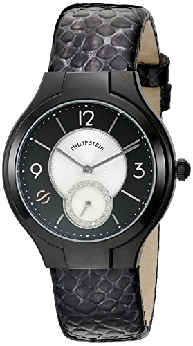 Philip Stein Women's 41B-DMBW-CHGR Round Analog Display Japanese Quartz Black Watch