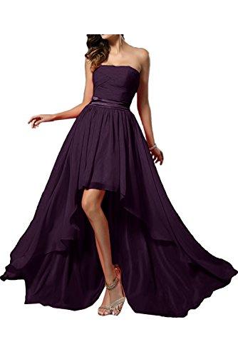 TOSKANA BRAUT Damen Traegerlos 2017 Chiffon Hi-Lo Partykleider Promkleider Abendkleider Lang Band Grape