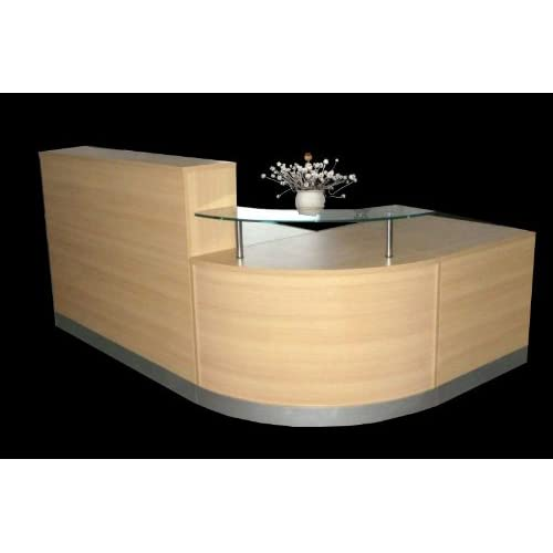 Reception Desk in Oak Curved Glass Unit Aluminium Plinth