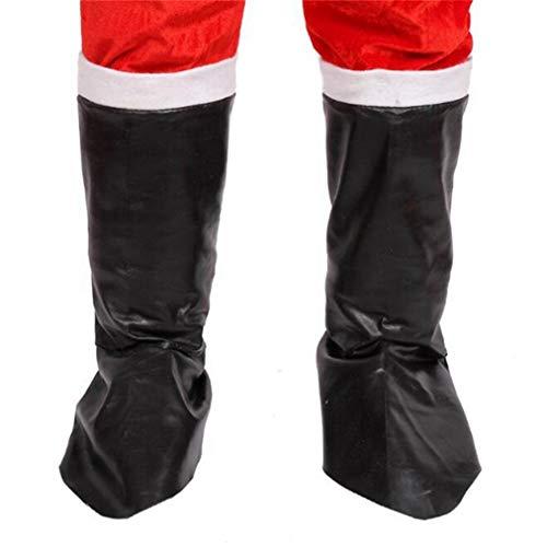 Kommerzielle Kostüm Weihnachten - Sevenfly Weihnachten Santa Boot Covers Schwarze Stiefel Party Kostüm Prop (schwarz)