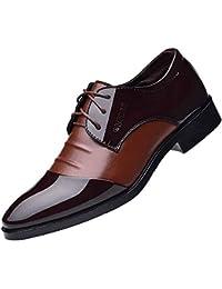 ALIKEEY Moda Hombres Negocio Zapatos De Cuero Casual Puntiagudo Zapatos De Calzado Masculino Traje Antideslizante Agua Ultraligeras Tus Bota Camuflaje Metal Grado