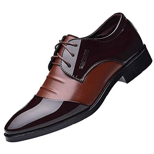 Patifia Schuhe , Mode für Männer Business Lederschuhe Casual Spitzschuhe Männlichen Anzug Schuhe Anzugschuhe Schwarz Herren Lässige Faule Schuhe -