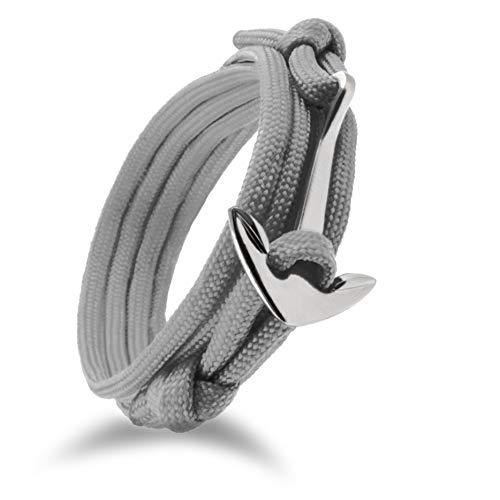 "Design in Leather maritimes Anker Paracord-Armband Kollektion raue See 4.1\"" Wickelarmband Segeltau Nylon inkl. Geschenktasche (Grau/GunMetalBlack)"