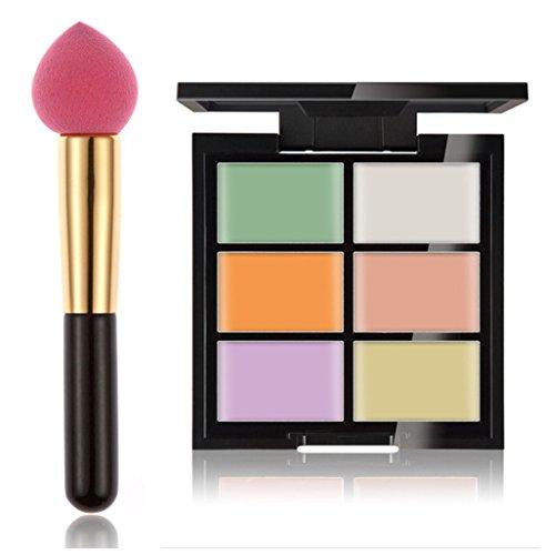 FantasyDay® 6 Couleurs Palettes de Maquillage Crème Contour Correcteur Anti-cernes Mettez en Surbrillance Camouflage Palette Fond de Teint Cosmétique + 1PC Eponge Maquillage #1
