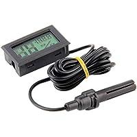 FY-12 Mini Digital LED Termómetro Higrómetro Temperatura Humedad Medidor Probador Monitor Interior Automóvil Hogar - Negro 140mAh