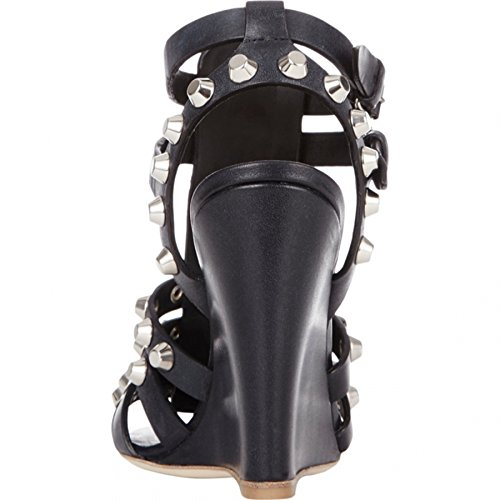 Minitoo ,  Damen Durchgängies Plateau Sandalen mit Keilabsatz Schwarz