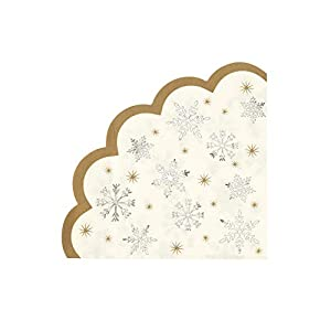 Talking Tables Christmas Accessories Paper Napkins Snowflake | 16 Pack, Gold Silver | Xmas Dinner Lunch Party