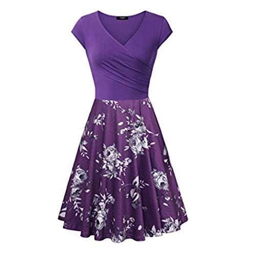 LOPILY Damen Kleider Vintage Retro Abendkleider Elegante Kreuz V-Ausschnitt Cap Sleeves Partykleid Knielang A-Linie Sommerkleider Cocktailkleid(Lila,EU-40/CN-L) -