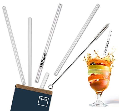 freshr Glas Strohhalme 5 nachhaltige Trinkhalme 21cm - wiederverwendbar und bruchsicher - Strohhalm Set inklusive Reinigungsbürste - Die nachhaltige Trinkhalm Alternative für Cocktail, Gin & Säfte Crystal-martini-cocktail