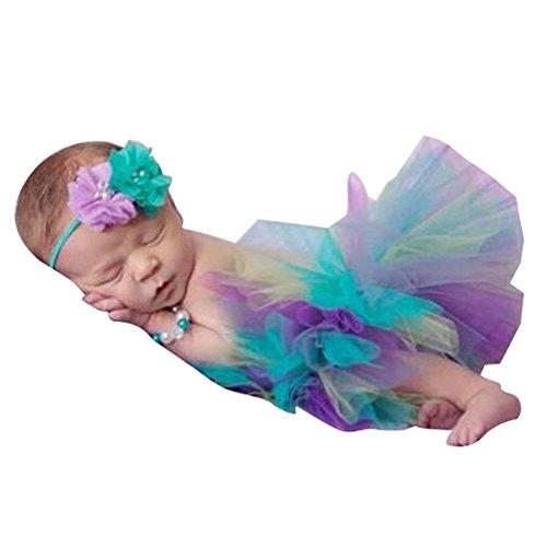 hibote Fotos Fotografie Prop Baby Mädchen Kostüm Süßer Prinzessin Kleid Tüllkleid mit Kopfband Festzug ()
