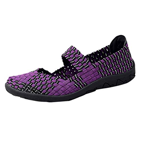 Strungten Damenmode Farbabstimmung Atmungsaktiv Gewebte Schuhe Turnschuhe Wilde Flache Faule Freizeitschuhe Gewebte Laufschuhe -