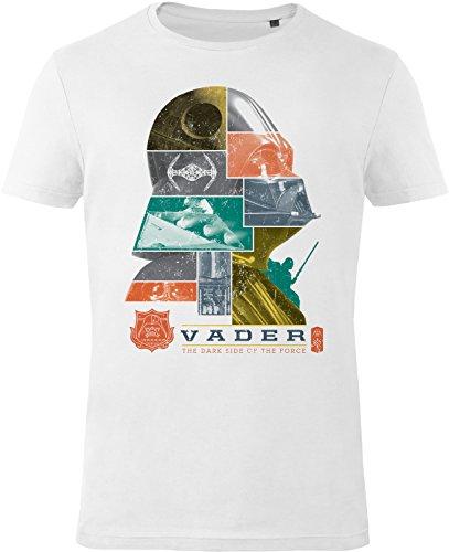 GOZOO Star Wars T-Shirt Herren The Dark Side of The Force 100% Baumwolle Weiß S