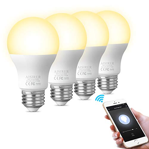 Smart Lampe WLAN Glühbirnen Wifi Led Light Bulb E27 Birne Kompatibel mit Amazon Alexa Echo Google Home Kein Hub Erforderlich Dimmbares Warmes Licht 2700K 806LM 9 W Entspricht 60W AISIRER (4 Packung)