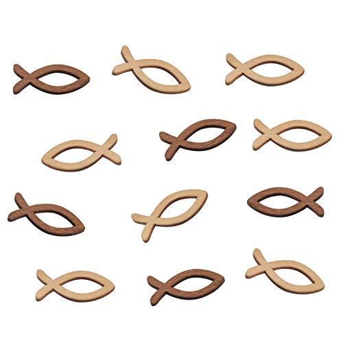 FEPITO 100 Holz Fisch Deko Fische Streudeko Tischdeko Verzierung für Taufe, Kommunion und Konfirmation - Klein 3,5cm - (2 Farben x 50 Stück)