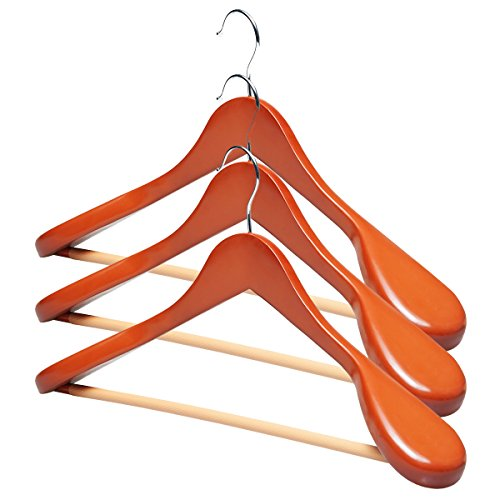 DXP 10 Stück Holz Kleiderbügel Holzbügel Formbügel mit Hosensteg Breite Schulterauflage