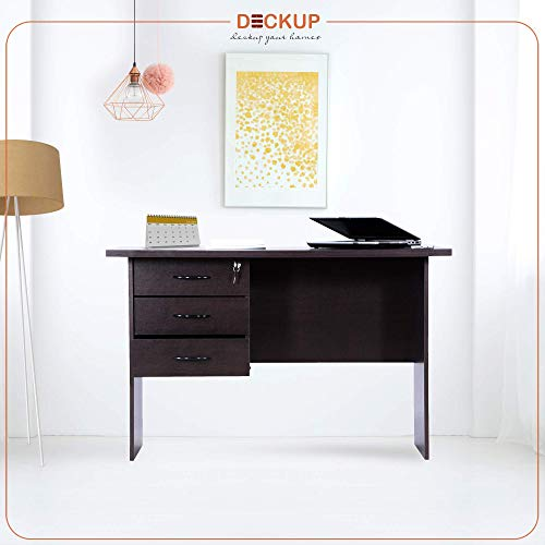 Deckup Reno Office Desk and Study Table (Dark Wenge, Matte Finish)