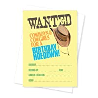 Apartment 2 Cards Wanted Western Cowboy Themed Fill-In Party Invite, Set of 10 Invitations