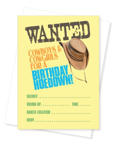 Apartment 2 Cards Wanted Western Cowboy Mottoparty Füllen Party einladen, Set von 10 Einladungen