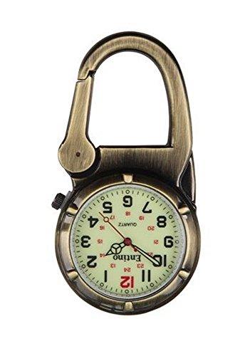Entino Marke Antik Bronze Clip auf Karabiner Leuchtendes Gesicht Starke FOB Uhr Ärzte Krankenschwestern Sanitäter Köche militärischen Stil