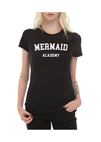 Frauen T-Shirt mit Aufdruck in Schwarz S Mermaid Academy Meerjungfrau Nixe Design Girl Top Mädchen Shirt Damen Basic 100% Baumwolle kurzarm (S, Mermaid Academy)