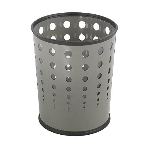 Bubble Wastebasket, Round, Steel, 6 gal, Gray