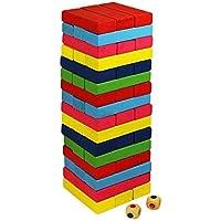 SAJANI 51 pcs Wooden Blocks   Tumbling Tower Toys with Dices   Stacking & Balancing Games