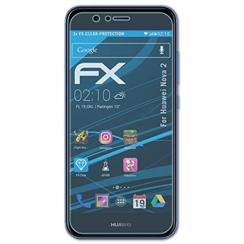 atFolix Schutzfolie kompatibel mit Huawei Nova 2 Folie, ultraklare FX Bildschirmschutzfolie (3X)