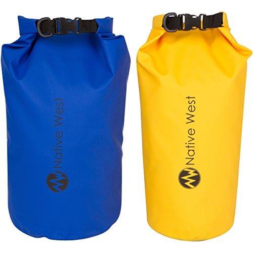 NativeWest Dry Bag (2Pack) mit Schultergurt. Waterproof Dry Gear Taschen für Boot und Kajak, Angeln, Camping, Wandern, Rafting. Dry Kompression Sack, blau/gelb -