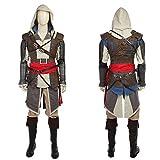 nihiug Juego de la Bandera Negra de Assassin'S Creed 4 Ropa COS Completa Manga de Flecha Flecha Cortavientos Cosplay Ropa Completa,Brown-L(173to177)