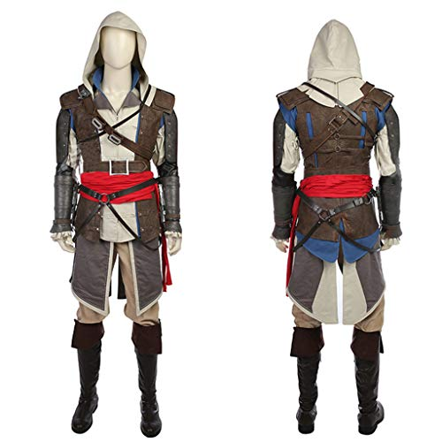 nihiug Assassin's Creed 4 Black Flag Spiel Komplette COS Kleidung Kostümhülle Arrow Windbreaker Cosplay Komplette - Assassin Creed 4 Black Flag Kostüm
