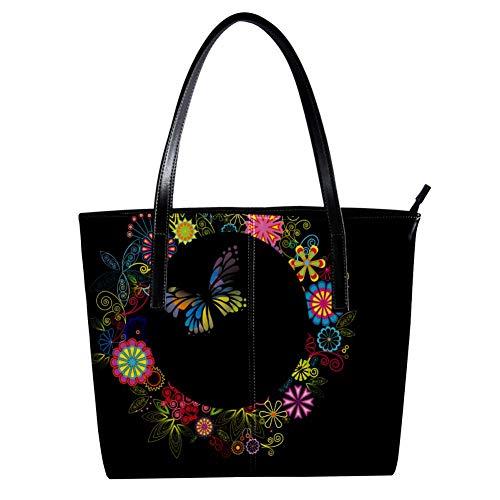 Women's Bag Shoulder Tote handbag with Colorful Butterflies Print Zipper Purse PU Leather Top-handle Zip Bags -