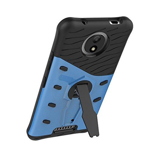 Hüllen für Mobiltelefone Motorola Moto C Plus, TOCASO Slim Armor CS Schutzhülle schwarz [Tough Armor] Extrem Fallschutz Doppelte Schutzschicht Stoßabweisende Handyhülle Silikon TPU Innenteil + Polykar Armor Blau