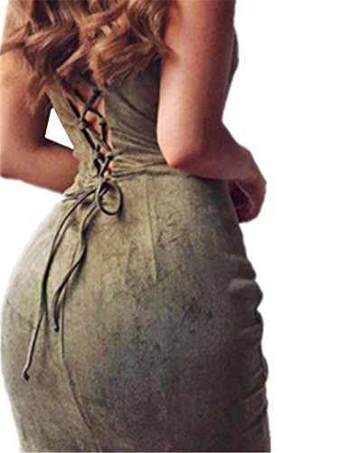 HYHAN Nouvelle robe de mode dames printemps / été sexy au large de la fin de longues jupes sac banane bandoulière Green