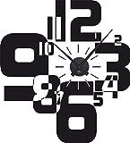 GRAZDesign 800066_BK_070 Wandtattoo Uhr Wanduhr mit Uhrwerk für Wohnzimmer Moderner Zahlenmix Zahlen (63x57cm//070 Schwarz//Uhrwerk Schwarz)