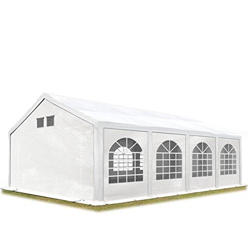 TOOLPORT Partyzelt Festzelt 4x8 m in weiß Professional 300 g/m² PE Plane Wasserdicht UV Schutz mit BODENRAHMEN Gartenzelt -