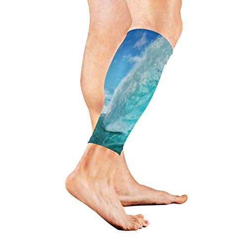Beinmanschette Digital Painting Ocean Wave Calf Sleeves 1 Pair For Running Cycling Travel -