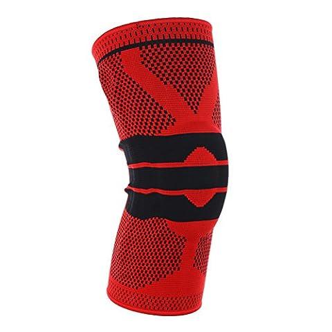homdsim Elastic Kniebandage Kompression Knie Sleeve Silikon Pad Knieschützer, rot