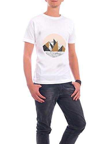 """Design T-Shirt Männer Continental Cotton """"Geo Landscape Circle"""" - stylisches Shirt Abstrakt Geometrie Natur von Paper Pixel Print Weiß"""
