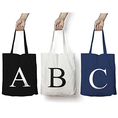 Personalised Tote Bag ANY LETTER Alphabet Printed Cotton Tote Shopper Bag