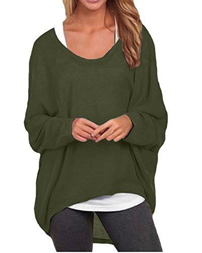 ZANZEA Damen Lose Asymmetrisch Jumper Sweatshirt Pullover Bluse Oberteile Oversize Tops Armee-Grün EU 46/Etikettgröße XL (Langarm-bluse Grüne)